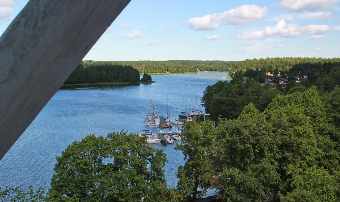 Jezioro Gołuń będące częścią Jezior Wdzydzkich, widziane z drewnianej wieży widokowej