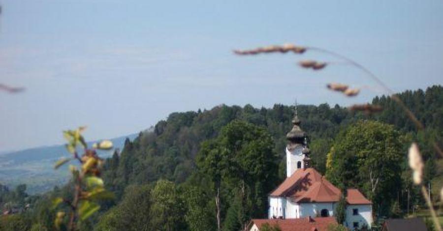 Widok z malowniczego Wąwozu Homole na kościółek w Jaworkach, Anna Piernikarczyk