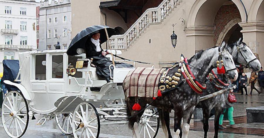 Kraków z parasolem - zdjęcie