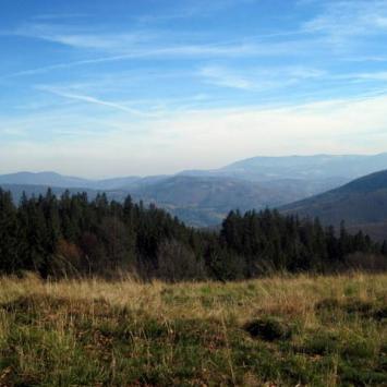 panorama Beskidu Śląskiego widzianego na odcinku z Małej na Wielką Czantorię