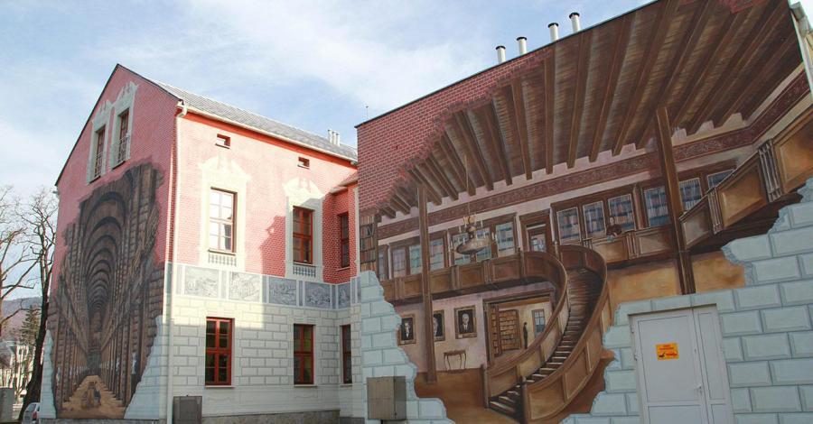 Mural na Bibliotece w Ustroniu - zdjęcie