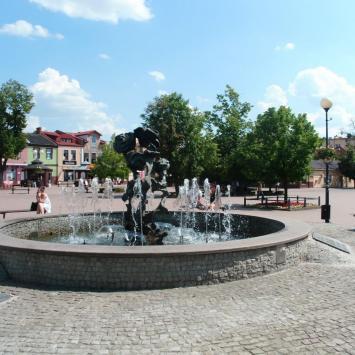Kolorowa fontanna w Tarnobrzegu